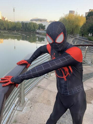 Spider-Man Into the Spider-Verse Kids Costume Miles Morales Cosplay Zentai Suit