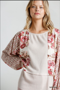 UMGEE-S-Floral-Mixed-Printed-Long-Puff-Sleeve-Waffle-Knit-Top-With-Raw-Round-Hem