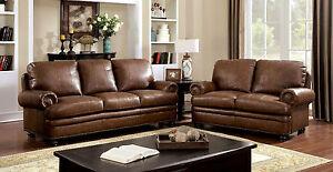 Sofa Loveseat  2 Pc Transitional Style Set Plush Cushion Dark Brown Leather Set