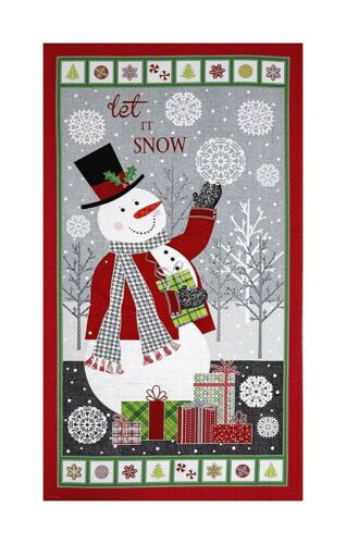 "Benartex Contempo Let It Snow Snowman Wallhanging Red Green 23/"" Fabric Panel"