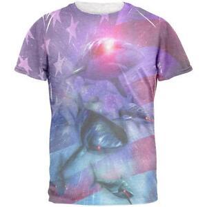Mens July Shirt Patriotic Galaxy American 4th Laser T Sharks Of F7OpxwqR
