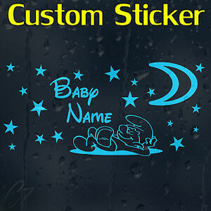 Baby-Boy-039-s-Custom-Decal-Vinyl-Sticker-With-Your-Text-Or-Name-For-Wall-Car-Laptop