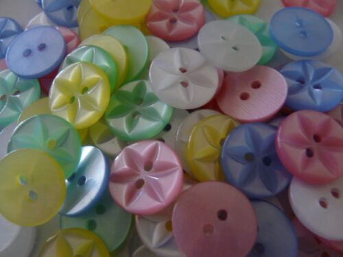 100 ASSORTED COLOURS STAR BUTTONS SIZE 26-17MM