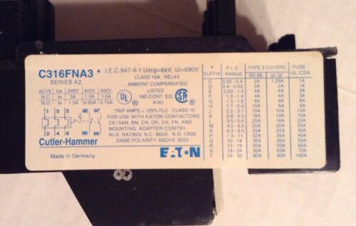 LOT OF 2 EATON-CUTLER-HAMMER C316FNA3F SERIES A2 THERMAL OVERLOAD RELAY