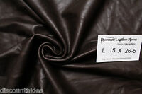 Med Leather Piece: Ghirardelli Brown. Smooth Grain. Appx 8 Sqft. L15x26-5