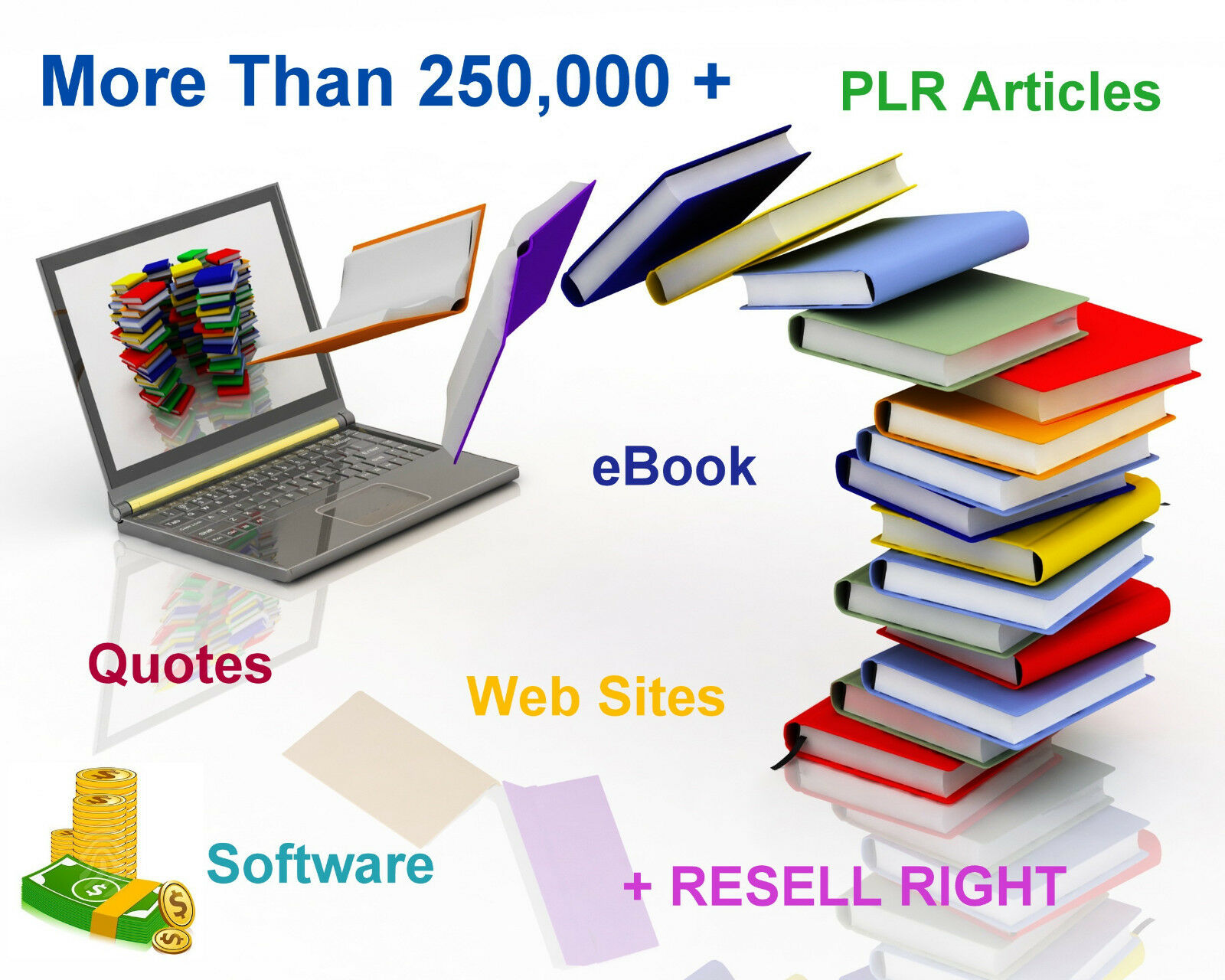 More Than 250,000 + eBooks,PLR Articles,Quotes ,WebSites,Software  RESELL RIGHTS