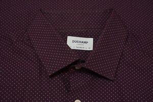 Duchamp London Merlot Red Geometric Tailored Fit Cotton Dress Shirt Sz 17