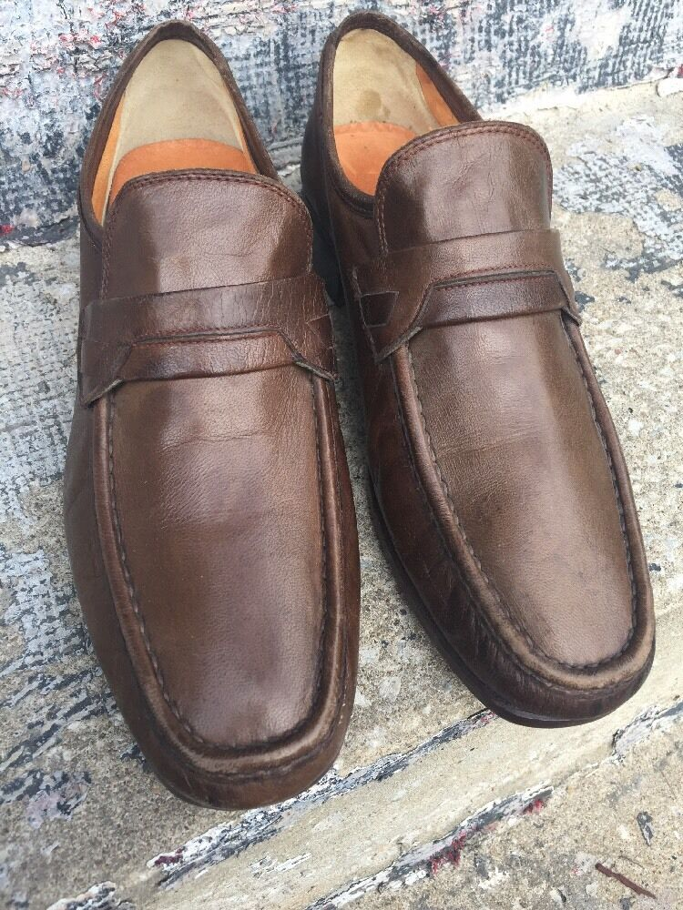 French Shriner Brown Leather Loafers Casual 10M