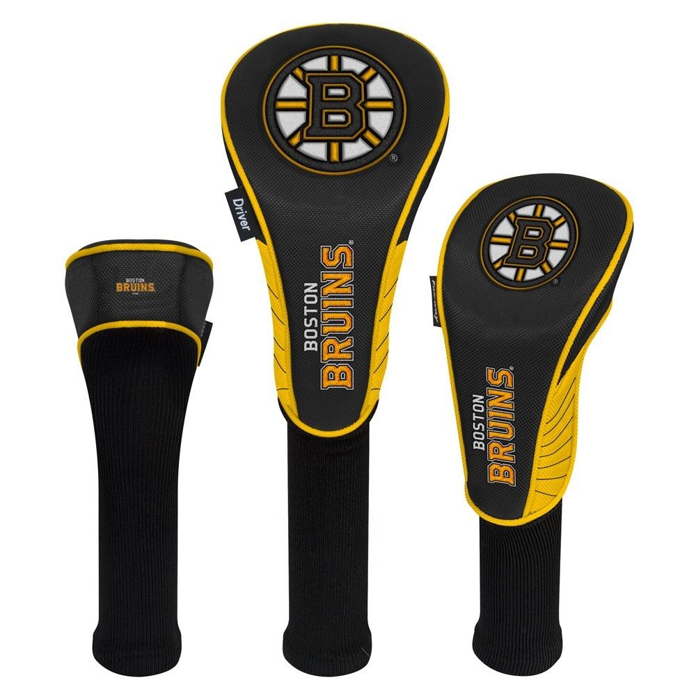 BOSTON BRUINS EMBROIDERED LOGO DRIVER FAIRWAY HYBIRD SET 3 HEADCOVERS NEW