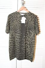 Pierre Balmain Olive Leopard Print T-Shirt 100% Cotton S Made in Italy RARE NWT