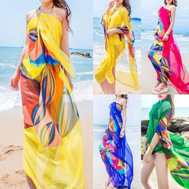 885faab02e Women Chiffon Beach Bikini Cover Up Wrap Scarf Pareo Swimwear Sarong Dress  MR