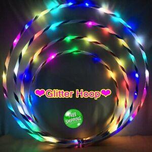 Multicolour Hula Glitter Hoop Fitness Exercise Game LED Hoola hoops Perform ZE