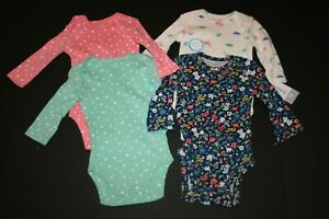ea8e7aa26 New Carter s Girls 4 Pack Dinosaur Floral Bodysuits NWT NB 3 6 9m ...