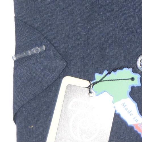 CAMICIA UOMO lino 100/%  M L XL XXL XXXL MANICA corta blu  MADE IN ITALY