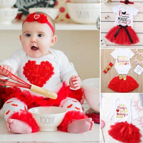 Newborn Infant Baby Girl Romper Tops+Tutu Skirts Valentine Headband Outfits Set