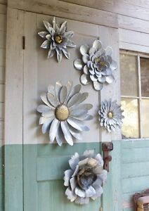 Image Is Loading 5 Galvanized Metal Flower Wall Art Sculptures Indoor
