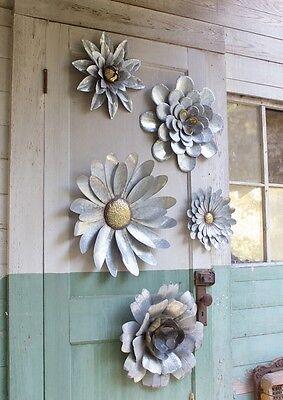 5 Galvanized Metal Flower Wall Art Sculptures Indoor ...