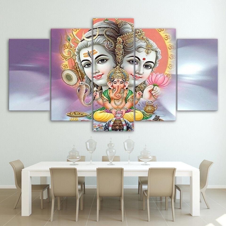 Lord Shiva Parvati Ganesha 5 Panel Canvas Print Wall Art