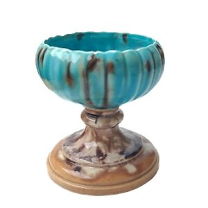 Vintage Turquoise Blue Brown Drip Glaze Pottery Candle Holder Planter