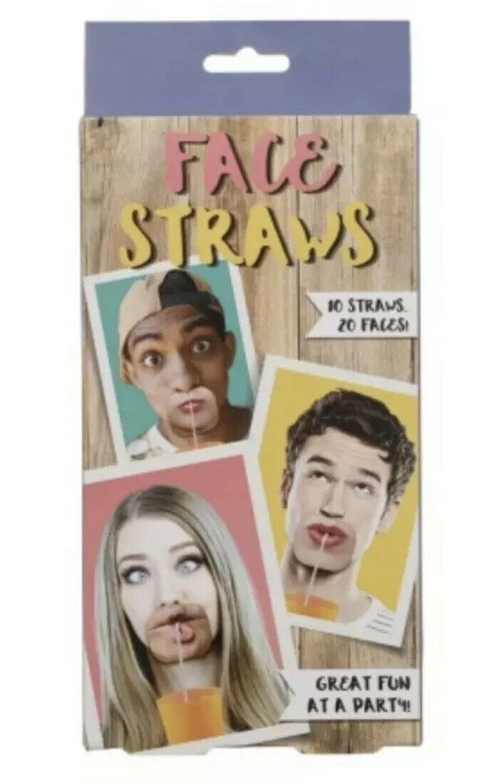 Face Straws wearable drinking faces funny party secret Santa gift pp3070fm