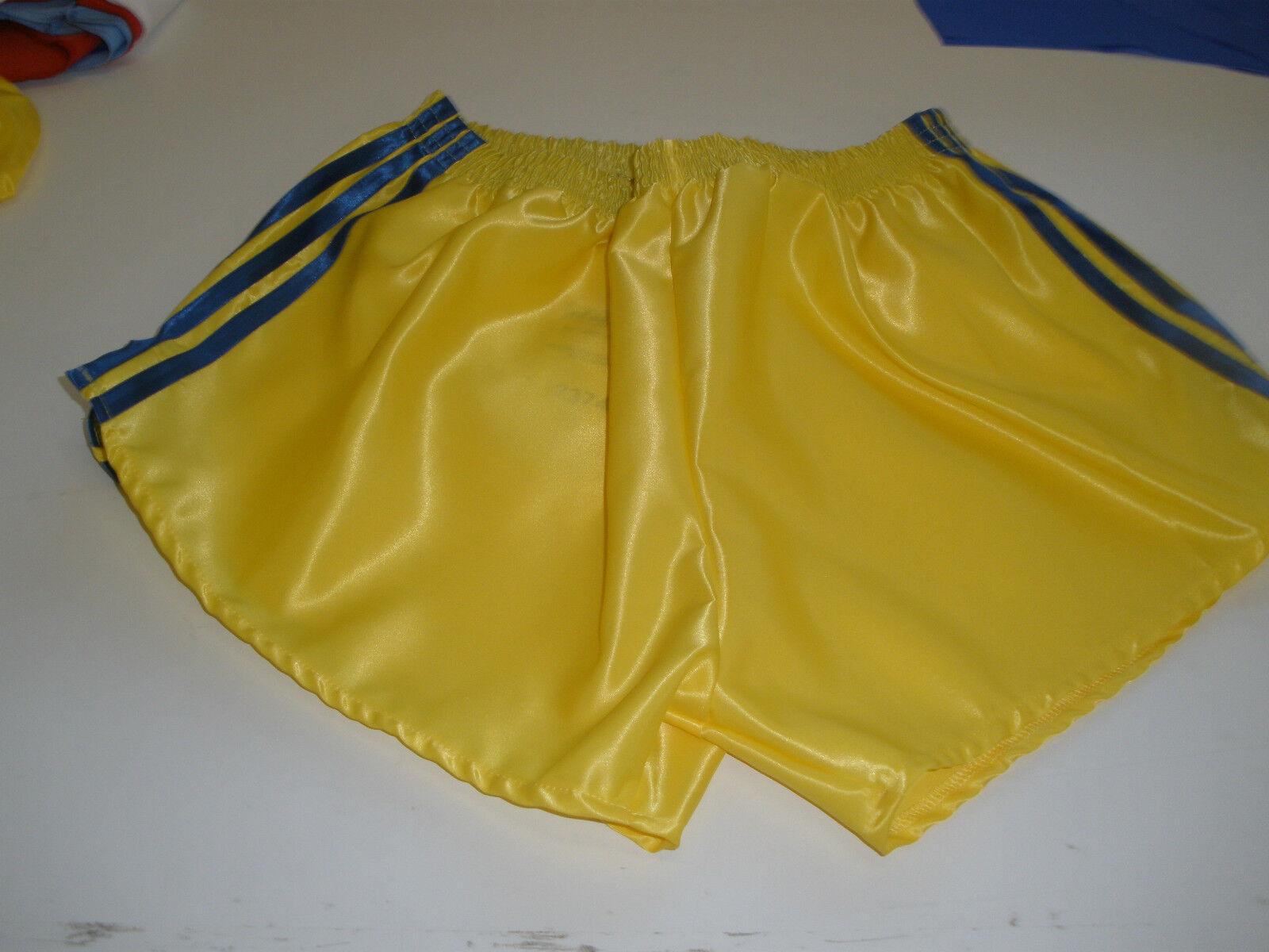Retro Nylon Satin Fußball Shorts S zu 4XL, Gelb - Königsblau     | Elegantes und robustes Menü
