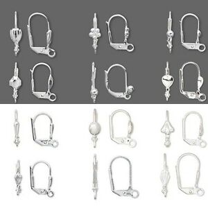 Lot-of-100-Silver-Plated-Hinged-Leverback-Earring-Findings-w-Loop-Lever-Back