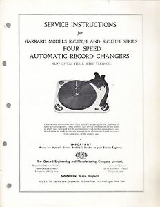 GARRARD SERVICE MANUAL FOR MODEL R.C. 120/4 AUTOMATIC RECORD CHANGER