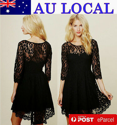 Tasseled Trim 3/4 Sleeve Crew Neck Women's Cocktail Party Dress AU Local Postage