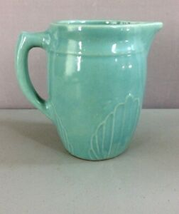 CRAFTSMAN-STYLE-CERAMIC-PITCHER-Lovely-TEAL-Glaze-6-034-H-Unmarked-SHIPS-FREE