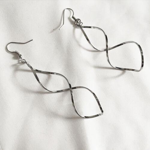 Spiral Curled long gyroidal Drop Boucle D/'oreille Dangle Boucles d/'oreilles femme bijoux