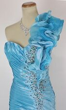 Size 10 Tony Bowls $500 Long Gown Prom Formal Mermaid Turquoise 1 Shoulder Dress