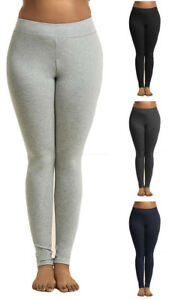 PLUS-Basic-Ladies-Elasticized-Waist-COTTON-Spandex-Leggings-XL-3XL