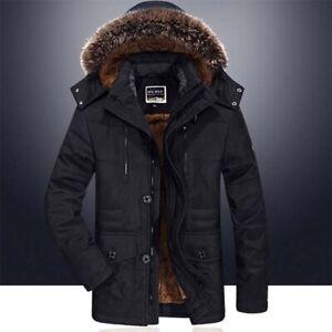 Mens-Winter-Fur-Collar-Coat-Parka-Jacket-Hooded-Fleece-Lining-Thick-Warm-Outwear