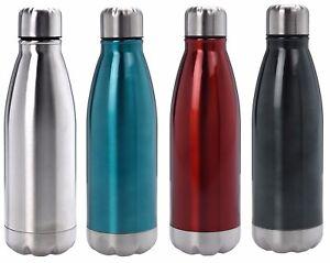 Edelstahl Trinkflasche Isolierflasche Vakuum Thermobecher Sportflasche 500ml DE