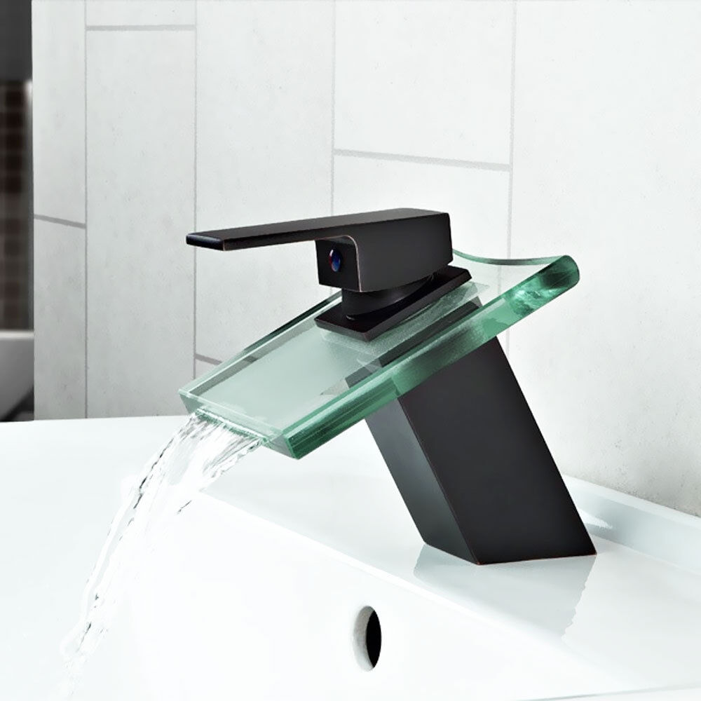 Fini mat noir carré en verre cascade bain bassin robinet