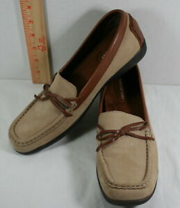Womens-Naturalizer-Briza-brown-Suede-leather-slip-on-loafers-driving-shoes-8N