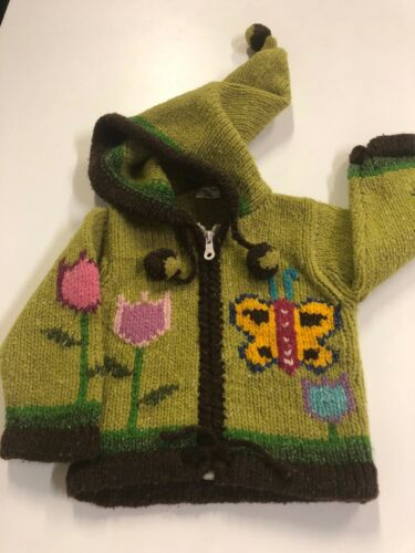 Quichua Creations Wool Sweater Jacket Coat Native Size 0 Wool Toddler Girl Grre