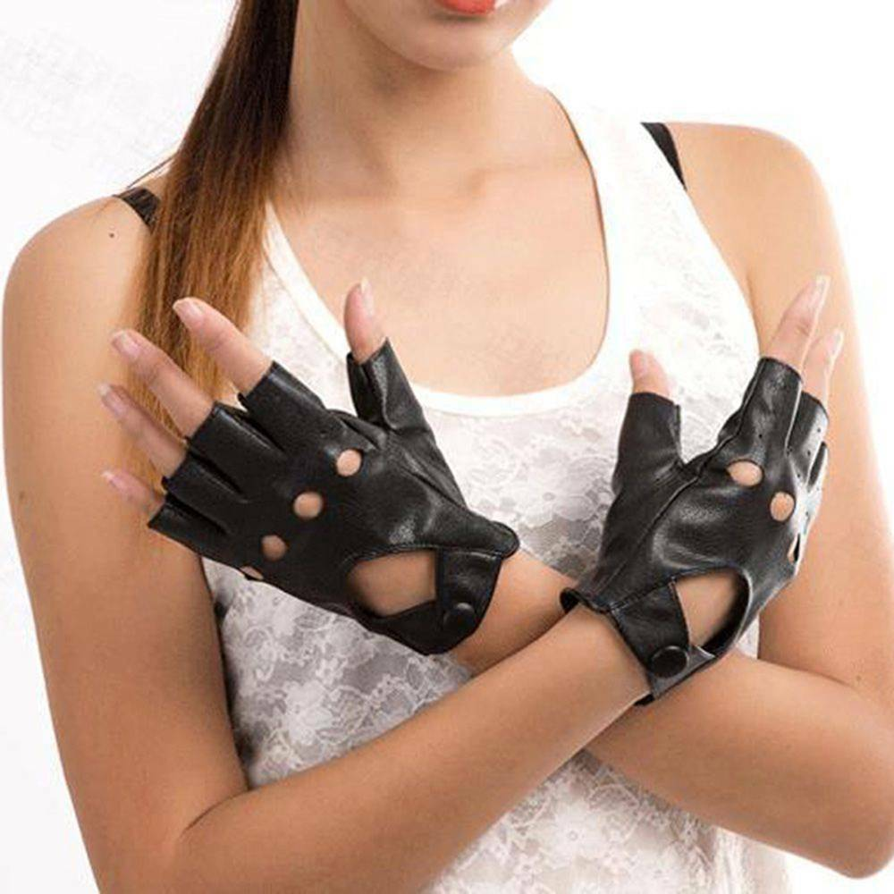 Style C, Black 2 Pairs Fingerless Gloves PU Leather Fingerless Gloves Fingerless Dance Gloves Punk Half Finger Driving Leather Gloves Motorcycle Fashion Driving Gloves for Women