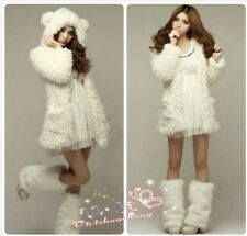 white 30cm artificial Faux Fur Leg Warmers Legging Boots shoes Cover vecolo