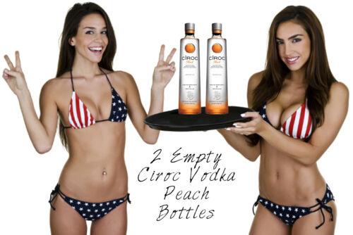 2 Empty Ciroc Peach Bottles