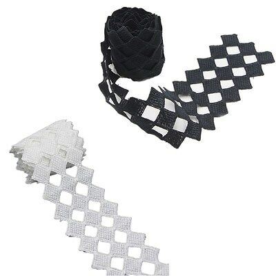 2 Yards White/Black Polyester Applique Venise Lace Trims DIY Sewing Crafts NEW