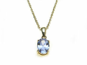 9ct-Gold-pale-Violet-coloured-stone-set-pendant-and-chain