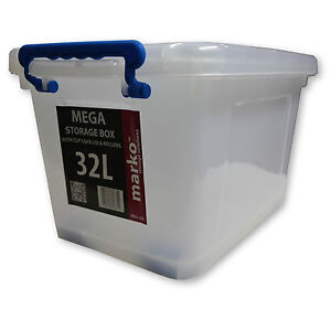 32L Strong Plastic Storage Box Wheels Clear Boxes Clip Lids Strong