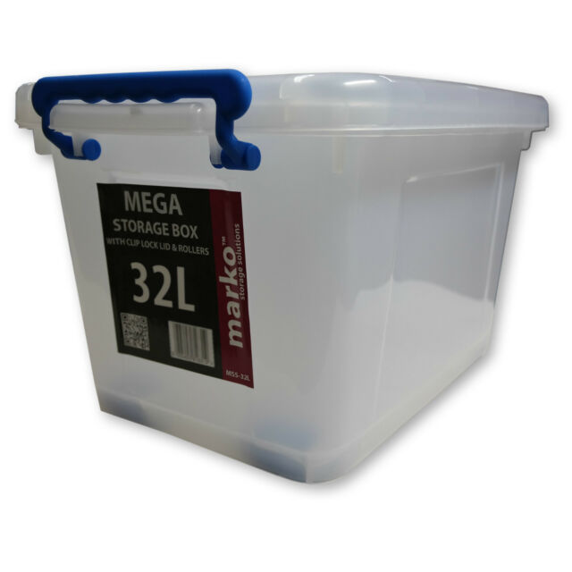 32L Strong Plastic Storage Box Wheels Clear Boxes Clip Lids Strong Stackable Box