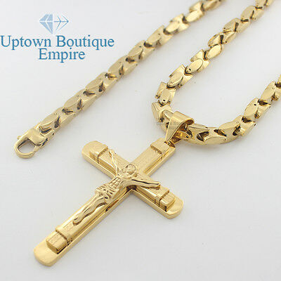 "22-36"" men stainless steel gold large jesus cross pendant heavy necklace chain"
