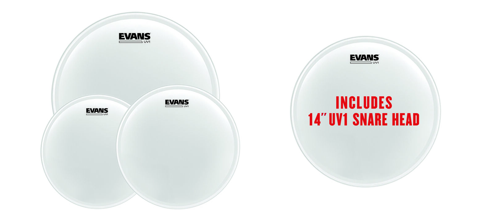 Evans UV1 Coated Drum Heads (12 , 13 , 16 ) With 14  UV1 Snare Head EPP-UV1-S