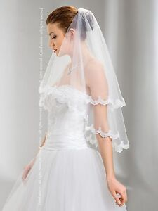 Wedding-Veil-Elbow-Length-Lace-Edge-Comb-Attached-W-49