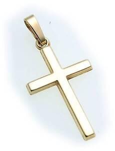 Anhaenger-Kreuz-echt-Gold-585-poliert-26-mm-14kt-Gelbgold-Qualitaet-guenstig-Unisex