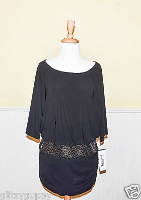 Joseph Ribkoff Black Blouse with Gold Speckled Accent Pattern - NWT