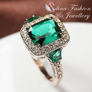 18K-Rose-Gold-Plated-Made-With-Swarovski-Crystal-Luxury-Classic-Emerald-Ring